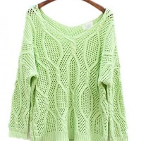 Twist Hollow-out Green Sweater$44.00