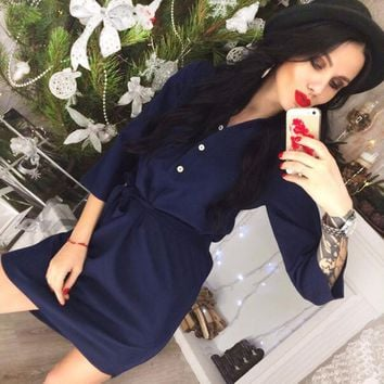 Summer Vintage 3/4 Sleeve Party Office Workwear Dresses Clothes
