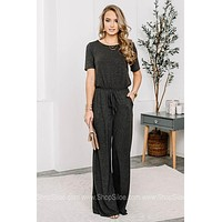 Jumpin' Into Spring Jumpsuit   Charcoal