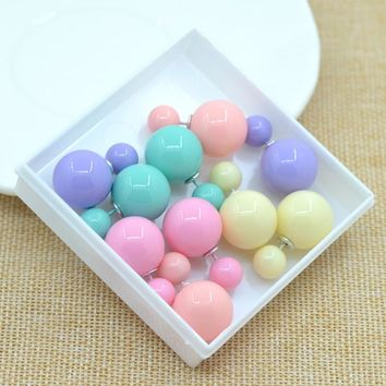 factory price Sales 11 colors fashion simulated pearl candy piercing wedding stud earrings 2sizes brincos perle  Free shipping
