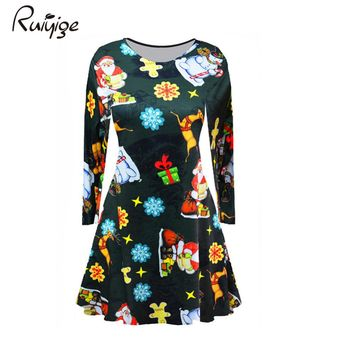 Ruiyige 2017 Winter Women Casual Christmas Print Full Sleeve O-Neck Tunic Xmas Mini Dresses New Year Party Vestidos Santa Gifts
