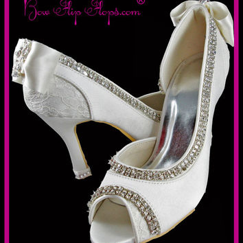 Ivory Wedding Heels Bridal Shoes 3.5 inch Peep Toe Satin Vintage Lace Bow Rhinestone Bling Custom Pumps I DO Design your colors Bride Gift