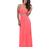 2014 Prom Dresses - Coral Chiffon Pleated Strapless Sweetheart Long Dress