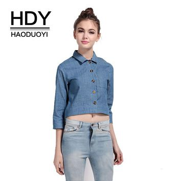 Solid Blue Sexy Sweet Women Blouses Turn-down Collar Single Breasted Vintage Basic Shirts Female Casual Crop Tops