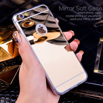 Rose Gold Luxury Bling Mirror Case For Iphone 6 6S Plus  7 5 5s SE Clear TPU Edge Ultra Slim Flexible Soft Cover For Iphone6 6S