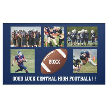 Custom Football Photo Collage Team School Name Banner