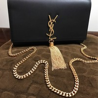 Yves Saint Laurent YSL Tassel Black Leather Clutch Flap Bag