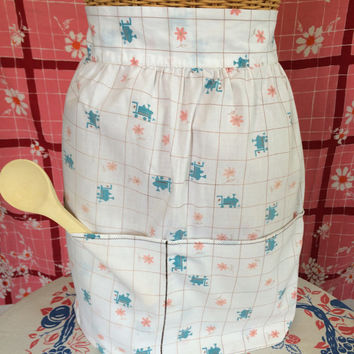 Mid Century Apron with Blue Trains Pink Flowers Front Pockets Vintage Kitchen Retro Housewife
