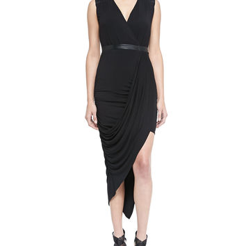 Women's Asymmetric Draped Jersey Dress - Laundry by Shelli Segal - Black