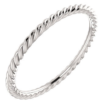 14K Gold Skinny Rope Band - White, Rose or Yellow Gold
