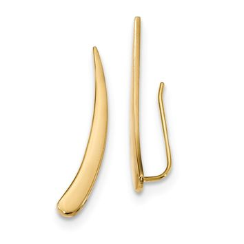 4 x 28mm (1 1/8 Inch) 14k Yellow Gold Polished Pointed Ear Climbers