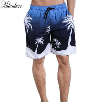 Milankerr Original Brand Mens Surf Shorts Beach Lining Board Shorts Striped Quick Dry Swim Trunks Elastic Waist Swimming Shorts