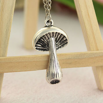 necklace--mushroom necklace,antique silver charm necklace,alloy chain