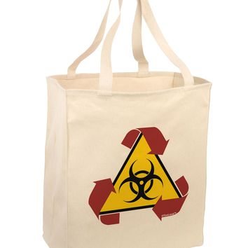 Recycle Biohazard Sign Large Grocery Tote Bag by TooLoud