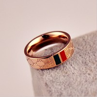 Gucci:2017 plated 18k rose gold classic red and green pattern letters titanium steel ring couple models on the ring men and women ring