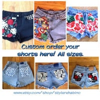 Custom Order Your Shorts Here. Want longer length? Bermuda style or daisy duke style? Jean shorts  cutoffs vintage fabric