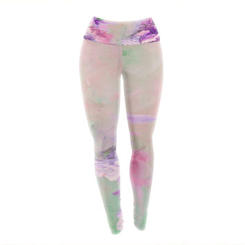 "Ebi Emporium ""Winter Dreamland 4"" Pink Purple Yoga Leggings"