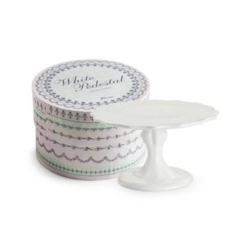 Small White Pedestal Cake Stand in Gift Box 24835