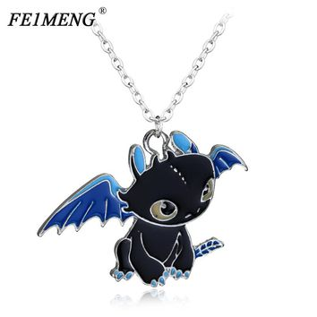 Toothless Night Fury Necklace How To Train Your Dragon 2 Link Chain Metal Charm Pendant Cosplay Accessories Jewelry Gift For Men