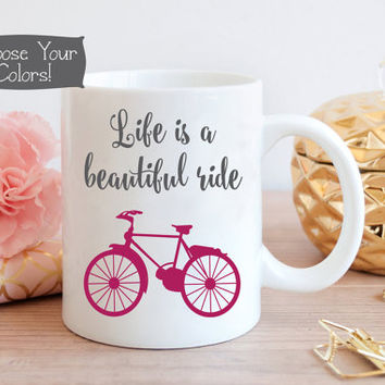 LIFE is a BEAUTIFUL Ride Bicycle Coffee Mug, Business Office Decor, Gift for Her, Boss Gift, Quote Mug, Office Idea, Birthday, Drink ware