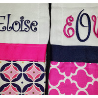 Monogrammed burp cloth, Personalized burp cloth, Monogrammed girl burp cloth, Personalized girl burp cloth - Set of Two (Hot Pink and Navy)