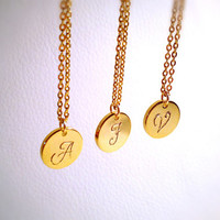 14k Gold Filled Necklace - Initial Personalized A - Z Alphabet Monogram Letter Hand Stamped Necklace