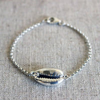 Silver Dipped Cowrie Shell Bracelet