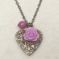 Brass heart locket necklace with flower jade