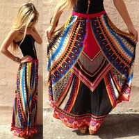 Vintage BOHO Women Floral Summer Beach Party Long Maxi Skirt Sundress Mini Dress