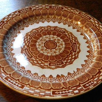 Mid 1800's Red or Brown Transferware Plate made in Maastricht Holland by P. Regout - Pattern Alpine