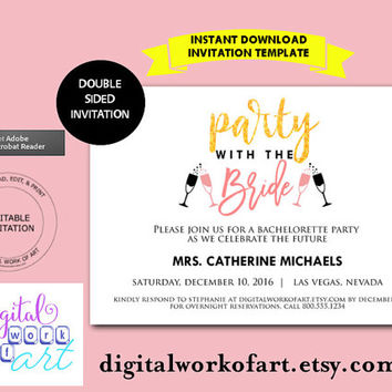 Bachelorette Party Invite, Bachelorette Party Invitation, Bachelorette Printable, Party Bride, Gold Glitter, Template, PDF Instant Download