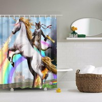 Cat and Unicorn Print Waterproof Shower Curtains with 12 Hooks