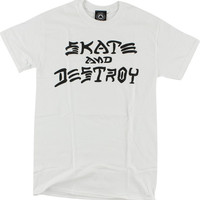 Thrasher Skate & Destroy Tee Medium White