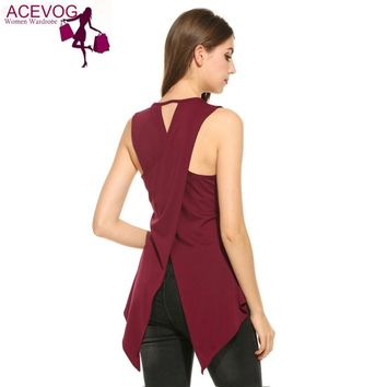 Women Casual Sleeveless O Neck Solid Slim Split Tank Top Back Cross Vest Single T Shirt