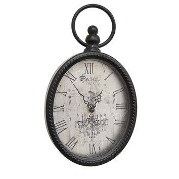 Antique Black Oval Wall Clock By Stratton Home Décor
