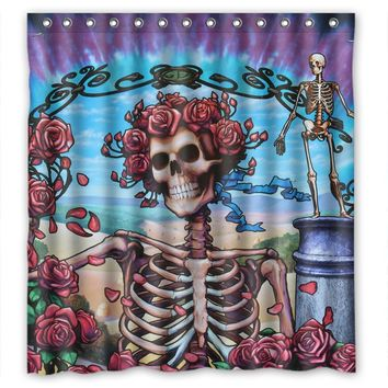 Custom Rock Band Grateful Dead High Quality Waterproof Polyester Fabric Bathroom Skull Shower Curtain