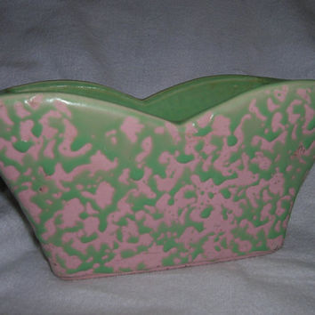 Vintage McCoy Retro Green /Pink Pottery Flower Planter