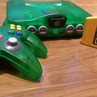 Jungle Green Nintendo 64 n64 console system Donkey Kong 64 + expansion pak FREE SHIPPING funtastic