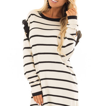 Ivory and Black Striped Sweater Dress with Ruffle Detail