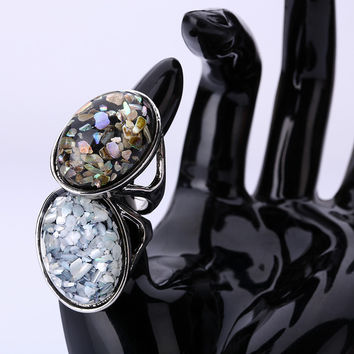 2Pcs New Arrival 2016 Silver Plated Fashion Jewelry Elegant White Natural Shell Big Stone Rings For Women/Men Vintage Party Ring
