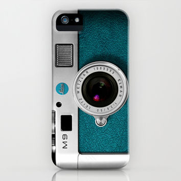 classic retro Blue teal silver Leica M9 Leather camera iPhone 4 4s 5 5c, ipod, ipad case iPhone & iPod Case by Three Second