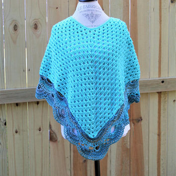 Women Poncho, Granny Stitch and Virus Stitch Shawl, Turquoise and Multi, Sweater, Wrap, Small Women or Jumiors