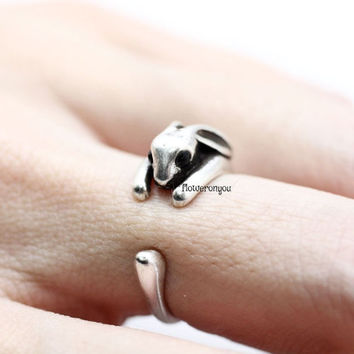 Rabbit ring, retro rabbit ring, retro ring, animal ring, man ring, cute ring, vintage ring, wrap ring, antique ring, retro jewelry, bunny