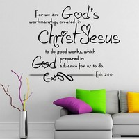 Wall Decals Quotes Bible Verse Psalm Ephesians 2:10 For We Are God's Lord God Quote Vinyl Sticker Living Room Bedroom Decal Home Decor DA3609
