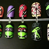 Teenage Mutant Ninja Turtles Nail Art by MaryMars on Etsy