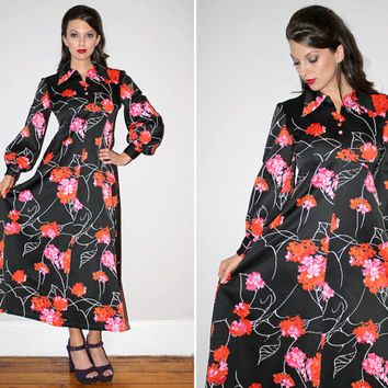 Vintage 60s Hawaiian Maxi Dress / Black Satin / Floral Print / Bold Bright Red + Pink / Bishop Sleeves / Beach, Resort, Tiki Party / Med