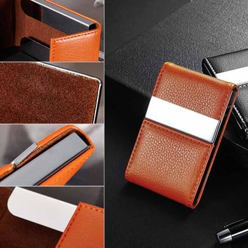 1Pc Stainless Steel PU Leather Cigarette Box Case Name Credit Card Cigarette Case DIY Cigarette Storage Tools