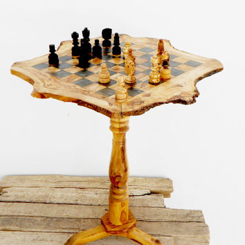 Father's Day Gift, Olive wood unique rustic chess table 20 Inch / Wooden chess board / set / Birthday Gift / Dad Gift / Boyfriend Gift