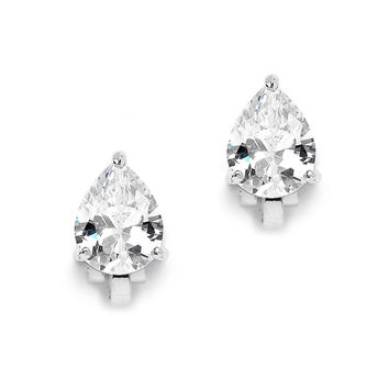 2.00 Ct. Cubic Zirconia Pear Shape Silver Clip-On Earrings