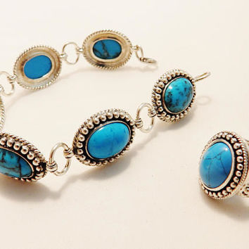 Sterling Silver Turquoise Natural Gemstone Bracelet and Ring Jewelry Set